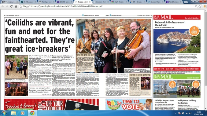Hessle Ceilidh Band Hull daily Mail